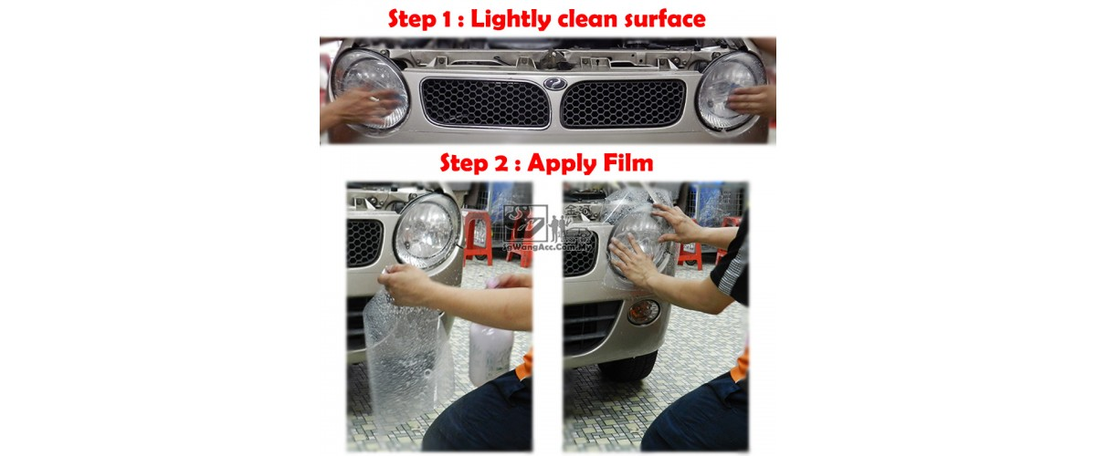 1. Lightly clean surface by shampoo & sand paper 2. Apply the film
