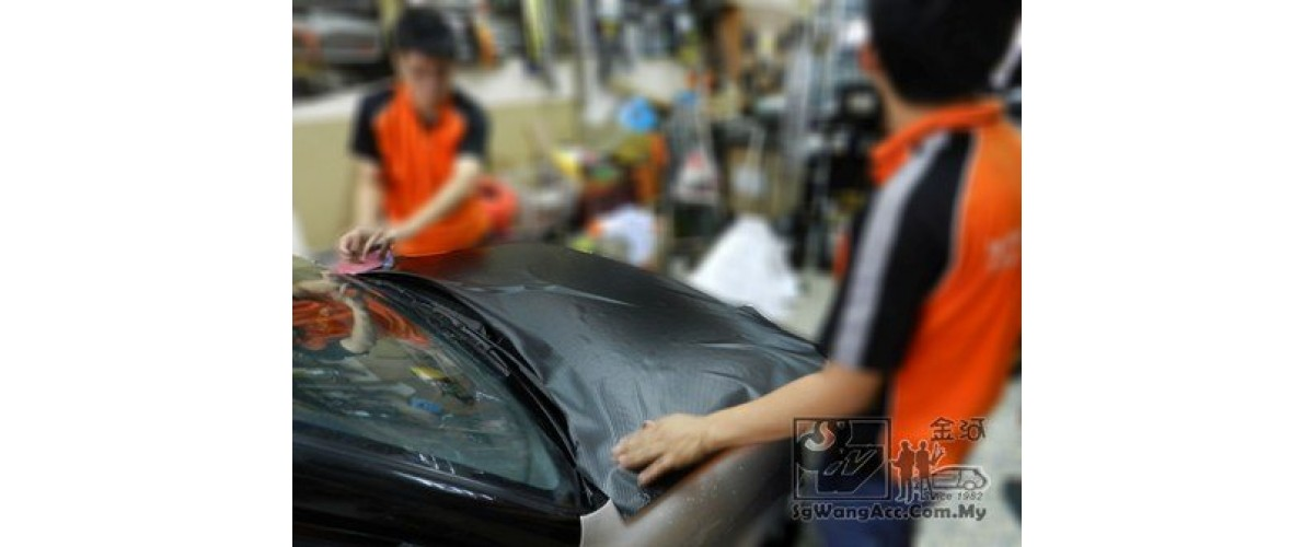 Place carbon sticker on the bonnet and adjust its position properly