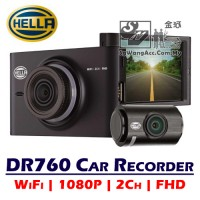 Hella DVR DR760 Driving Video Recorder GPS WiFi FHD Front & Rear 2-Channel