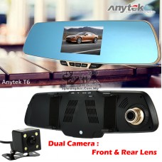 Anytek T6 Blue Rear View Mirror Full HD Video Recorder (Front & Rear Camera)
