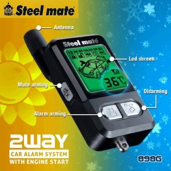 Steelmate 898G 2 Way Car Alarm w/ Remote Engine Auto Start