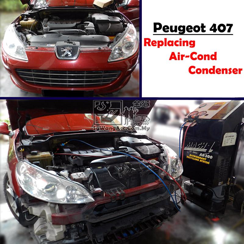 Normal Air Cond Service & Replacing Condenser on Peugeot 407