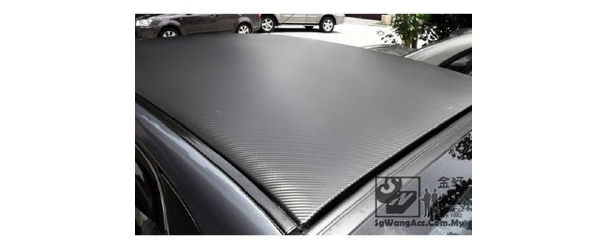 Carbon sticker applied on car roof top